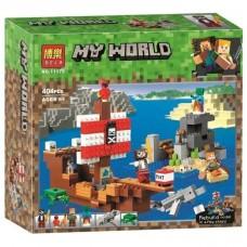 Конструктор для мальчиков Приключения на пиратском корабле, 3 героя, 404 детали - Bela Minecraft My World