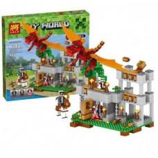 Конструктор для мальчиков Красный дракон: крепость с катапультой, фигурки, 468 деталей - Lele Minecraft My World