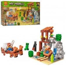 Конструктор для мальчиков Погоня: штольня, повозка с 2 лошадьми, 4 героя, 303 детали - Bela Minecraft My World