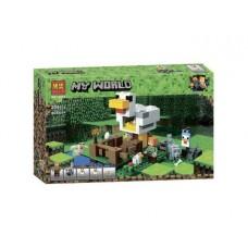 Конструктор для мальчиков Курятник 204 детали, 4 фигурки животных, аксессуары для игры - Bela Minecraft My World