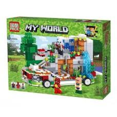 Конструктор для мальчиков Мобильная крепость (на колесах), 3 мини-фигурки, 545 деталей - PRCK Minecraft My World