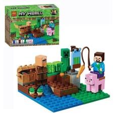 Конструктор для мальчиков Земельный участок: газон, речка, огород, фигурка 75 деталей - Bela Minecraft My World