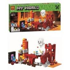 Конструктор для мальчиков Подземная крепость: игровая локация, 5 фигурок, 571 деталь - Bela Minecraft My World