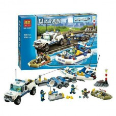 Конструктор для мальчиков Полицейский патруль: моторная лодка и транспортировщик, 409 деталей - Bela Urban