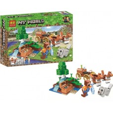Конструктор для мальчиков Сокровищница в лесу у водопада: колесница, фигурки, 162 дет. - Bela Minecraft My World