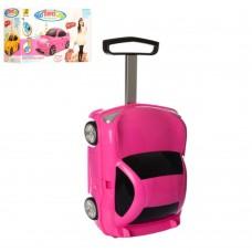Детский оригинальный чемодан-машина розового цвета, размер чемодана 30-49-22 смарт. 1211