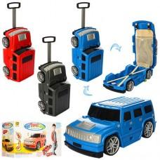 Детский оригинальный чемодан-машина ДЖИП синего цвета, размер чемодана 56-21,5-19,5 арт. 1182
