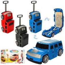 Детский оригинальный чемодан-машина ДЖИП оранжевого цвета, размер чемодана 56-21,5-19,5 см арт. 1182