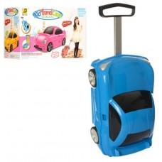 Детский оригинальный чемодан-машина голубого цвета, размер чемодана 30-49-22 смарт. 1211