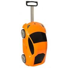 Детский оригинальный чемодан-машина оранжевого цвета, размер чемодана 48,5-26,5-22 см арт. 1214