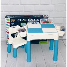 Многофункциональный Столик для рисования и стульчик 3в1: Конструктор, песочница, ниша для хранения 64х44х43см