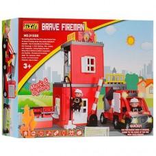 """Игровой развивающий конструктор для малышей """"Пожарная станция"""" Brave fireman ТМ JIXIN, 52 детали арт. 9188 В"""