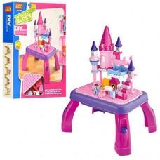 """Игровой развивающий столик для малышей с конструктором и 2 фигурками JIXIN """"Замок принцессы"""", 76 деталей арт. 3688 B"""