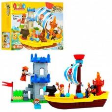 Детский Развивающий Конструктор для мальчиков Корабль пиратов, звук и свет, 60 деталей, JDLT, арт. 5269