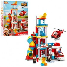 Детский Развивающий Конструктор для мальчиков Пожарная станция, свет и звук, 128 деталей, JDLT, арт. 5416