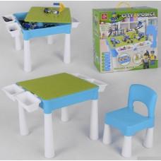 Многофункциональный Столик для рисования и стульчик 3в1 Конструктор Полицейский участок, песочница 45х45х43см