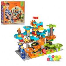 Конструктор развивающий для малышей Парк развлечений: 200 деталей с фигурками, шариками, шестеренками, горками