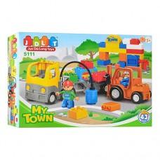 Детский Развивающий Игровой Конструктор для мальчиков Стройплощадка, 43 детали с машинкой, JDLT, арт. 5111
