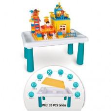 Детский Развивающий Игровой Столик - Песочница с конструктором 35 деталей, 49х30.5х24 см, Sluban арт. 0831