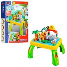 """Игровой развивающий столик для малышей с конструктором JIXIN """"Зоопарк"""", 55 деталей арт. 3688A"""