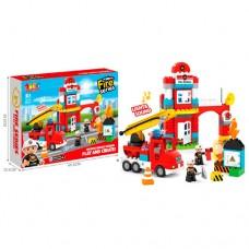 Конструктор развивающий для малышей Пожарная станция из 85 деталей, фигурки, звуковые и световые эффекты