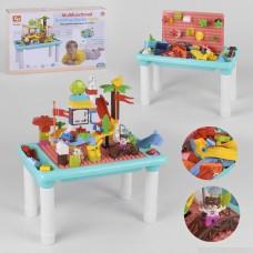 Многофункциональный Столик для рисования 3в1: Конструктор с фигурками и 2 паровозиками, песочница 47х26х26см
