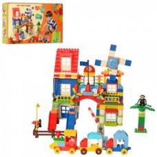 Конструктор развивающий для малышей Парк развлечений из 238 деталей с паровозиком, аттракционами и фигурками