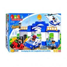 Детский Развивающий Игровой Конструктор Полицейский участок, 68 деталей с машинкой, свет и звук JDLT арт. 5135