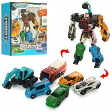 Игровой Робот-Трансформер для мальчиков Магма 6 серия Тобот, собирается из 6 машинок-роботов высота 22см - Tobot