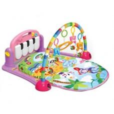Детский Развивающий Музыкальный Игровой Комплекс Коврик для малышей пианино, съемные игрушки РОЗОВЫЙ арт. 0604
