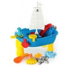 Детский Игровой Столик-песочница Пиратский корабль для песка и воды с аксессуарами 45х30х53 см, арт. 939В