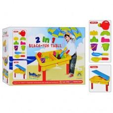 Детский столик-песочница с крышкой и аксессуарами (леечка, инструменты, пасочки), размер 28-44-30 см арт. 0831
