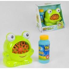 Детская эмоциональная игрушка Генератор мыльных пузырей Лягушка на батарейках, с мыльным раствором арт. 21383