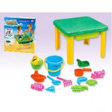 Детский столик-песочница с накрытием (+ведро, лейка, пасочки, лодочка, ковшик), размер 60-60-43,5 см арт. 8801