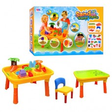 Детский Столик-Песочница Городок со стульчиком, крышкой и аксессуарами (32 детали), 61х42х17 см, арт. 0832