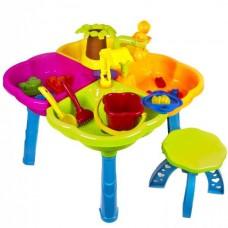 Детский игровой Столик-Песочница для песка и воды, 37х59 см, стульчик 21,5х27,5 см, Украина, арт. 01-121