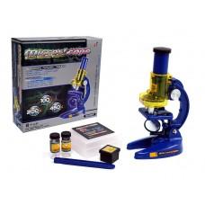Детский развивающий Микроскоп, пробирки, масштаб увеличения: 100Х, 200Х, 450Х, размер 13х7х21см, синий-желтый*