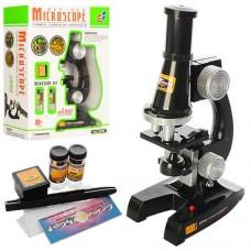 Детский развивающий Микроскоп со стеклами, пробирками, пинцетом, увеличение 100Х, 200Х, 450Х, размер 13х7х21см