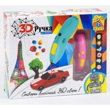 3D ручка FUN GAME для детского творчества, керамический носик, аккумулятор, биопластик 6 цв. РОЗОВАЯ арт. 7424