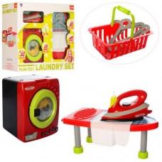 Детский игровой набор - стиральная машинка, утюг, гладильная доска со световыми и звук эффектами арт. 14035