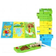 Настольная Развивающая деревянная игра Башня Пазл Дженга-Вега от 1 игрока с цветными брусочками и 2 кубиками