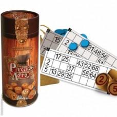 Настольная игра Лото в подарочной тубе. (туба, деревянные бочечки, карточки, фишки и мешочек) 43208-06 lvt-lotto