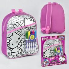 """Набор для творчества """"Рюкзак - раскраска Hello Kitty и 5 маркеров """", размер рюкзака 29-10-24 см арт. 20187"""