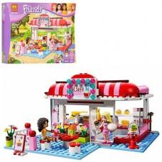 Конструктор для девочек Кафе в городском парке 221 деталь, 2 мини-куклы, посуда, еда, аксессуары - Bela Friend