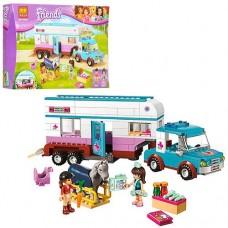 Конструктор для девочек Ветеринарная машина 379 деталей, мини-куклы, тягач и трейлер, аксессуары - Bela Friend