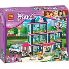 Конструктор для девочек Клиника Хартлейк-Сити 887 деталей, мини-куклы, младенец, машинка, кресло - Bela Friend