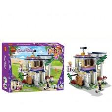 Конструктор для девочек Загородный дом с балконами, террасой, скутером, 2 мини-куклами 379 деталей - Good Fellow