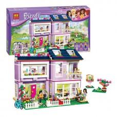 Конструктор для девочек Дом Эммы с садиком 731 деталь, 3 мини-куклы, фигурка птички, аксессуары - Bela Friend