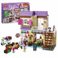 Конструктор для девочек Овощной рынок в Хартлейк-сити 389 деталей, мини-куклы, кот, аксессуары - Bela Friend
