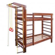 Детская Двухъярусная кровать из сосны со шведской стенкой, спортивные аксессуары 250х87х225см тонировка 61390
